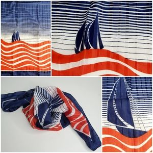 Vintage Italian square scarf with sailboats
